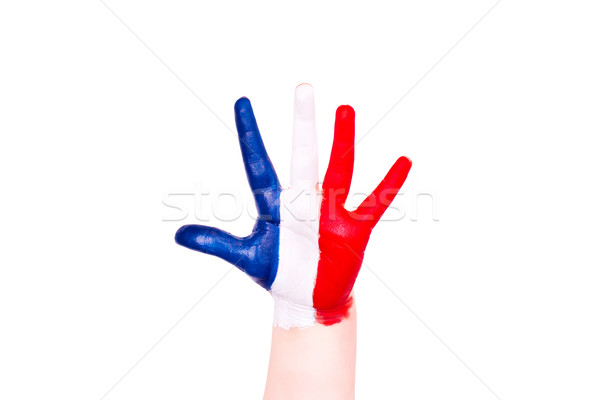 France flag on a hand. Travelling to France concept. Eurotrip. Stock photo © Len44ik