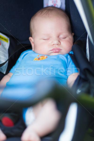 Stockfoto: Baby · slapen · auto · zitting · gezicht · stoel