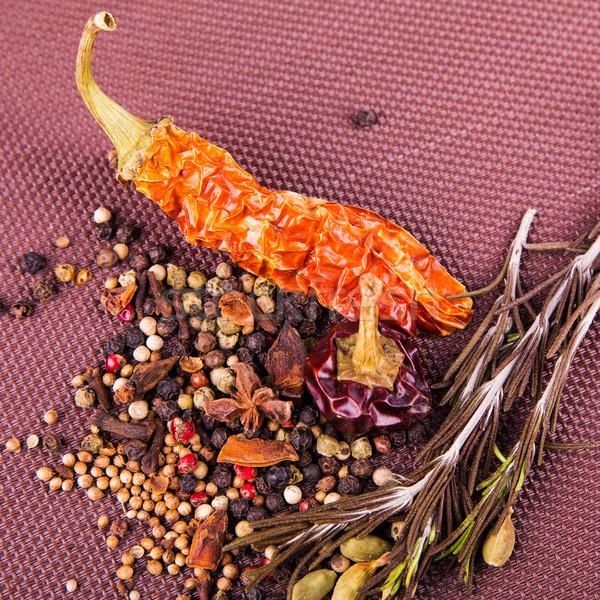 Różny przyprawy zioła brązowy obrus żywności Zdjęcia stock © Len44ik