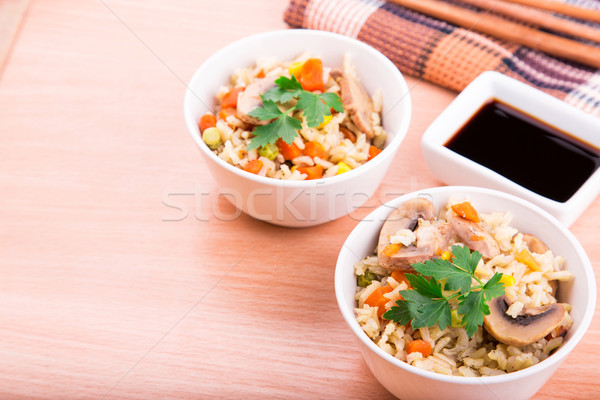 Arroz hortalizas setas salsa de soja servido alimentos Foto stock © Len44ik