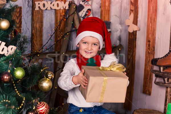 Gelukkig weinig jongen kostuum aanwezig kerstmis Stockfoto © Len44ik