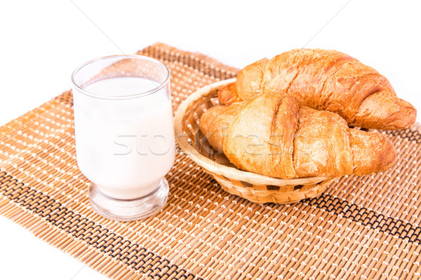 Fresh and tasty French croissants in a basket with glass of milk Stock photo © Len44ik