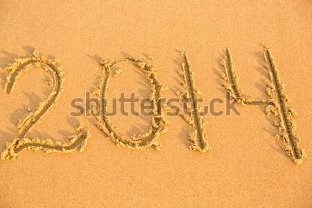 Szó tenger citromsárga homokos tengerpart szöveg nyár Stock fotó © Len44ik