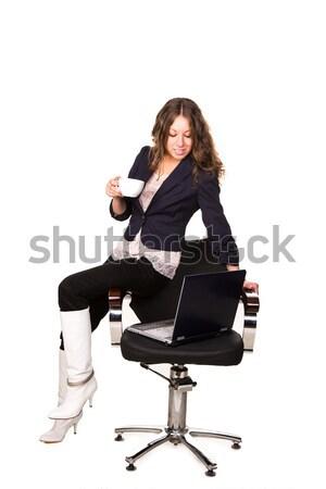 Hermosa mujer de negocios taza café silla portátil Foto stock © Len44ik