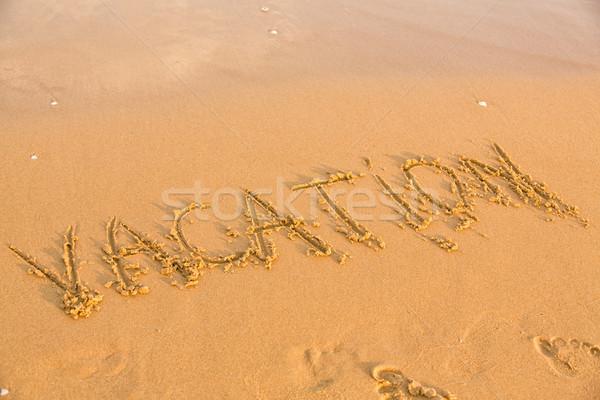 Szó vakáció citromsárga homokos tengerpart szöveg nyár Stock fotó © Len44ik