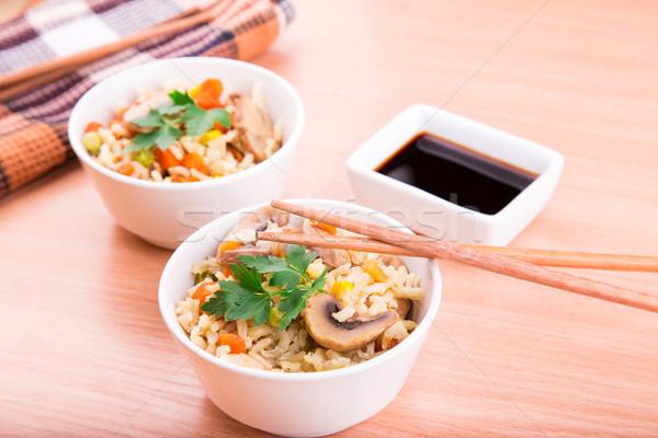 Pirinç sebze mantar soya sosu hizmet gıda Stok fotoğraf © Len44ik