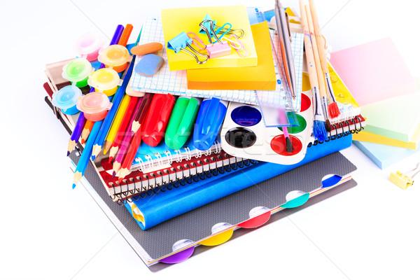 Iroda mozdulatlan vissza az iskolába izolált fehér könyv Stock fotó © Len44ik