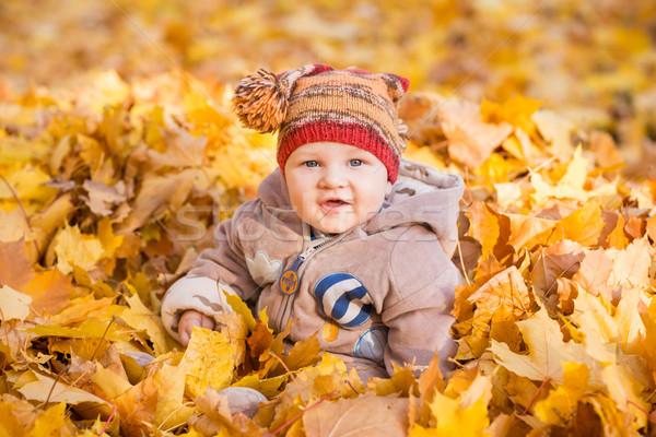 Foto d'archivio: Cute · baby · primo · autunno · bambini