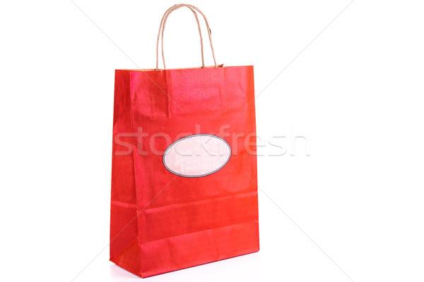 Stockfoto: Rood · papier · boodschappentas · geïsoleerd · winkelen · witte