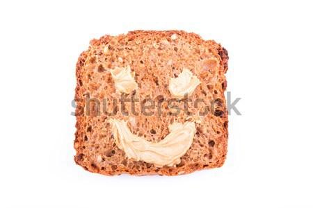 Burro di arachidi sandwich sorriso isolato bianco vetro Foto d'archivio © Len44ik