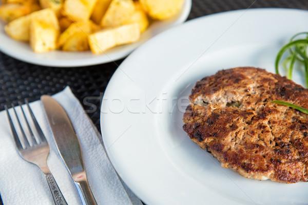 Grilled meat cutlet served Stock photo © Len44ik