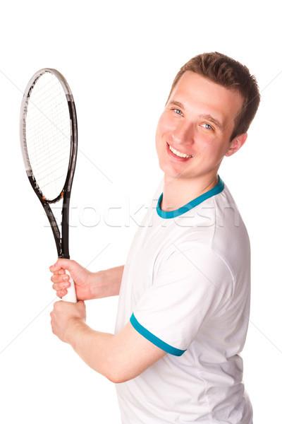 Sportive young man playing tennis Stock photo © Len44ik