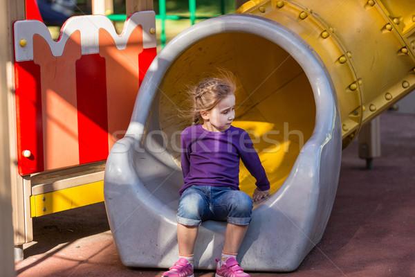 Mooie meisje outdoor speeltuin zomertijd meisje Stockfoto © Len44ik