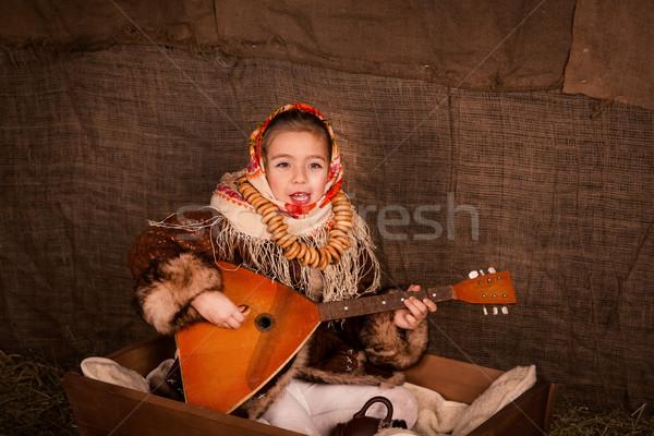 Stockfoto: Mooie · russisch · meisje · vergadering · winkelwagen · spelen