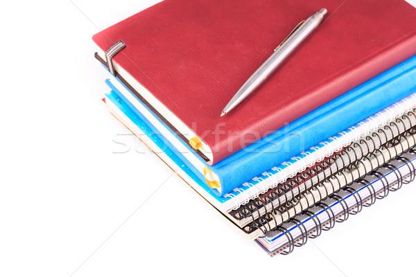 Nota libro pluma aislado blanco Foto stock © Len44ik