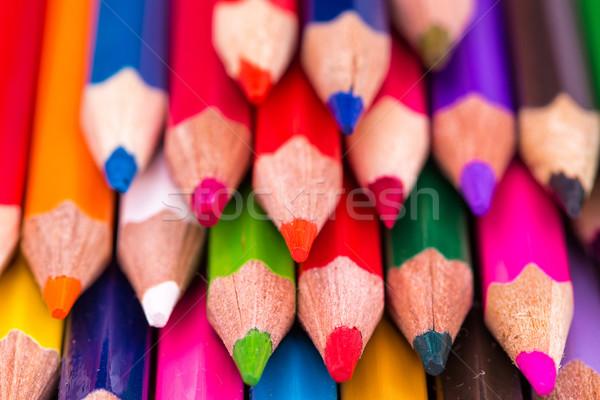 Cor lápis isolado branco de volta à escola madeira Foto stock © Len44ik