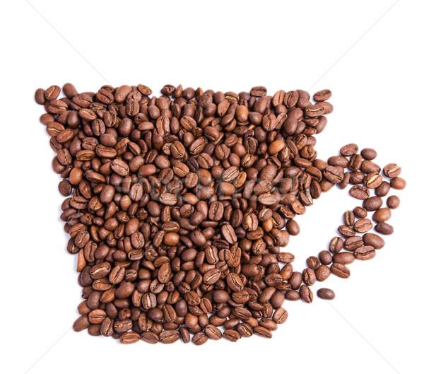 Kahve çekirdekleri biçim kahve fincanı yalıtılmış beyaz gıda Stok fotoğraf © Len44ik