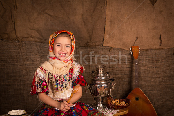 Beautiful russian girl in a shawl  Stock photo © Len44ik