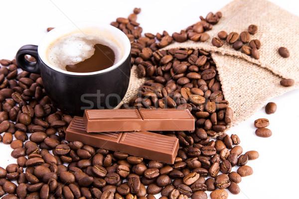 Taza café granos de café canela blanco Foto stock © Len44ik