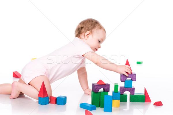 Mooie baby gebouw kasteel geïsoleerd Stockfoto © Len44ik