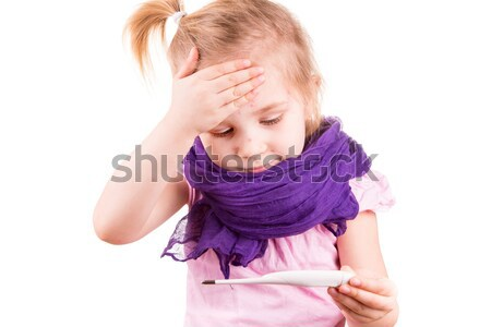 Sick little girl measuring temperature and checking her forhead Stock photo © Len44ik