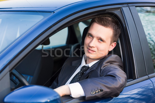 красивый молодые бизнесмен Новый автомобиль сидят бизнеса Сток-фото © Len44ik