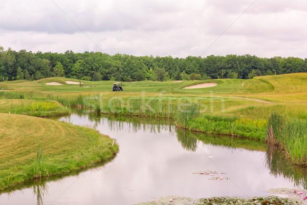 Perfect golvend grond groen gras golf veld Stockfoto © Len44ik
