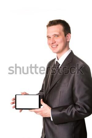 Jonge zakenman tonen scherm monster Stockfoto © Len44ik