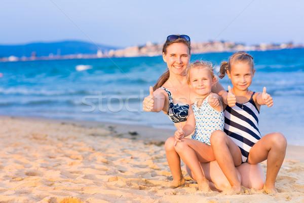Foto stock: Mãe · família · feliz · mulher · céu · água · família