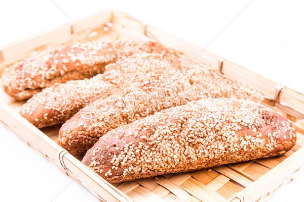 Frissen sült kenyér tekercsek szezám izolált Stock fotó © Len44ik