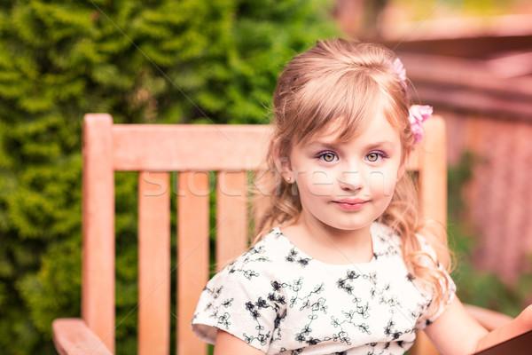Charmant meisje mooie jurk outdoor park Stockfoto © Len44ik