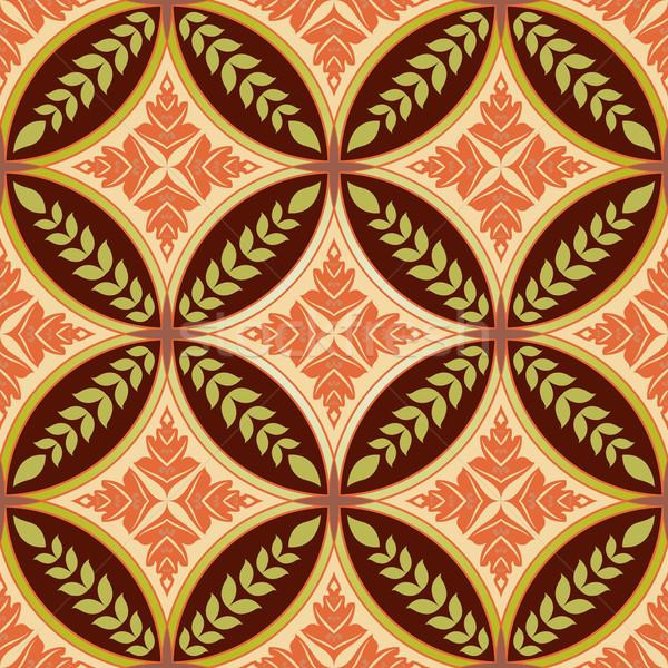 Senza soluzione di continuità diamante cerchio forme floreale pattern Foto d'archivio © lenapix