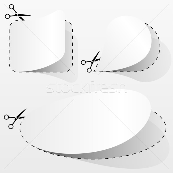 Blank white advertising coupon cut from sheet of paper. Stock photo © lenapix