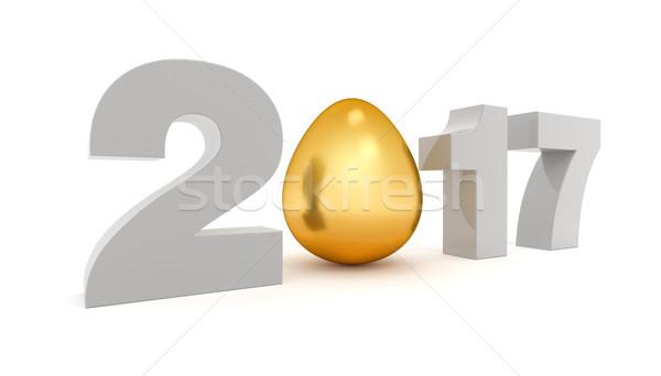 ストックフォト: 新しい · 年 · 3D · 金の卵 · レンダリング · 卵