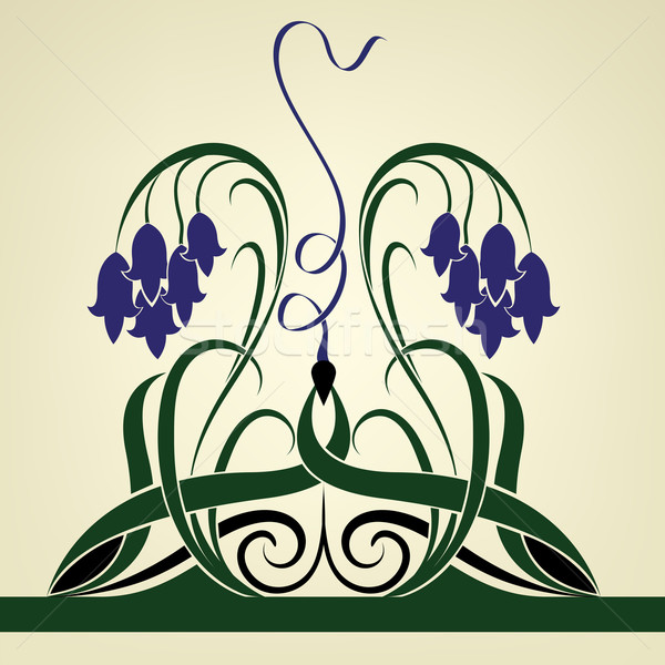 Abstract violet bell flowers vector background.  Stock photo © lenapix