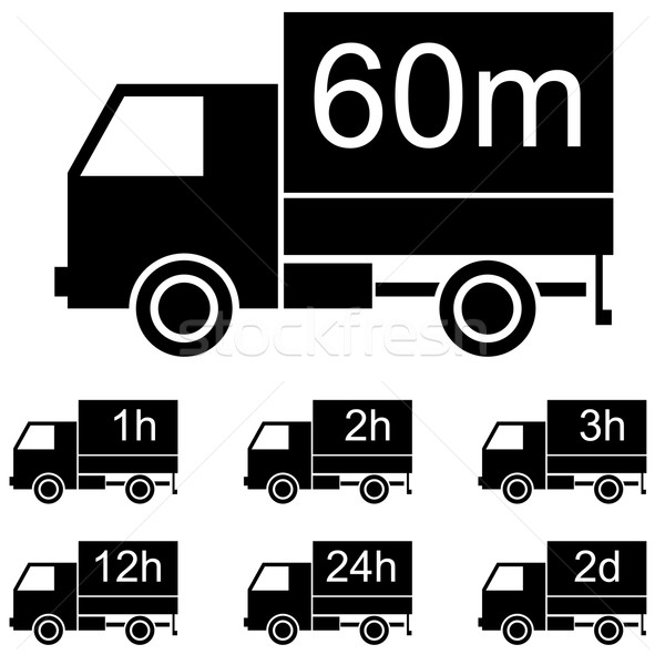 Delivery time black and white icons with panel truck shape. Stock photo © lenapix