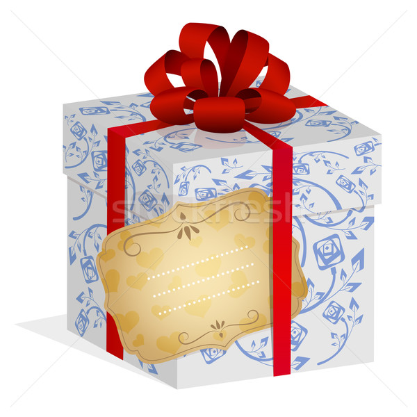 Present box with red ribbon and bow and notice label. Stock photo © lenapix