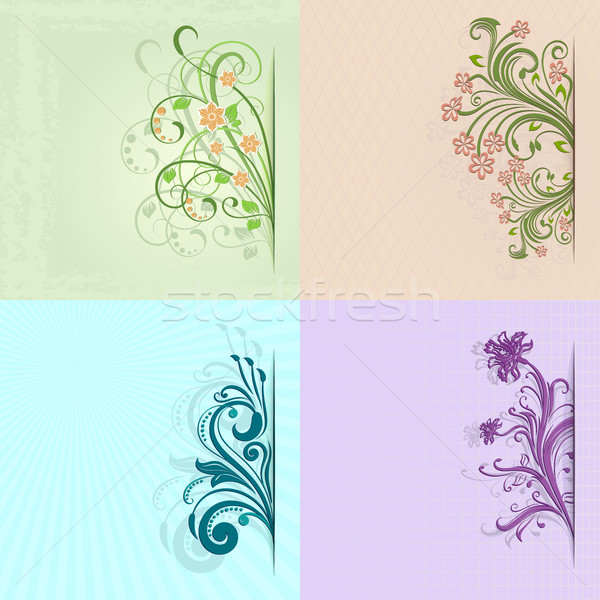 4 flower vintage color vector cards with copy space. Stock photo © lenapix