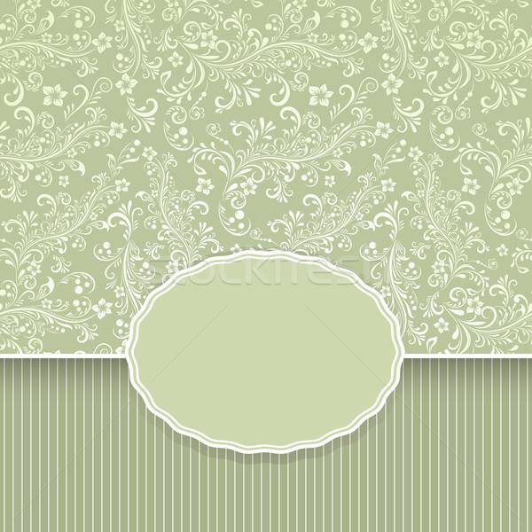 Photo stock: Sombre · vert · floral · vintage · vecteur