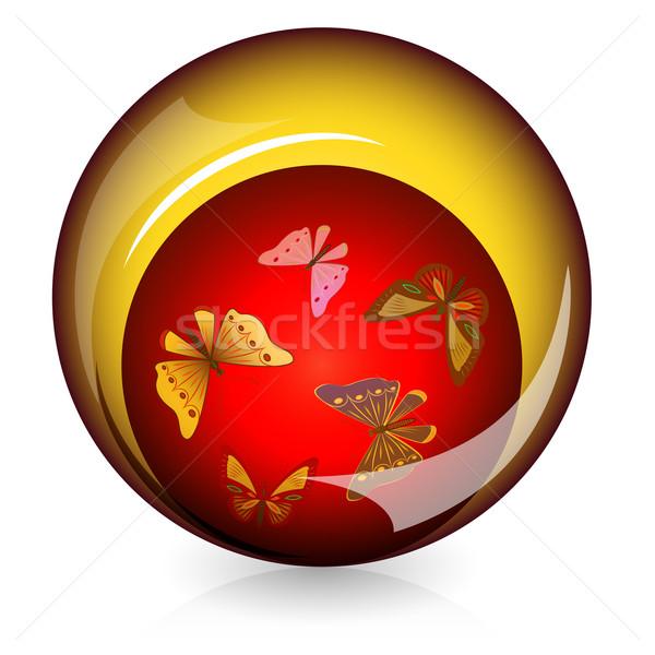 Stok fotoğraf: Küresel · parlak · düğme · kelebekler · içinde · tıbbi