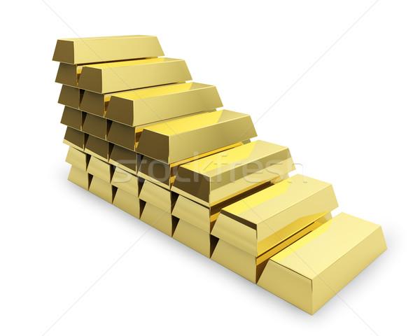 Lépcsőház arany rácsok izolált fehér üzlet Stock fotó © lenapix