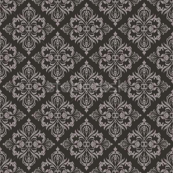 Seamless dark brown floral vintage vector background. Stock photo © lenapix
