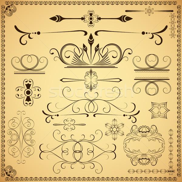 Klasszikus kalligrafikus vektor terv elemek izolált Stock fotó © lenapix