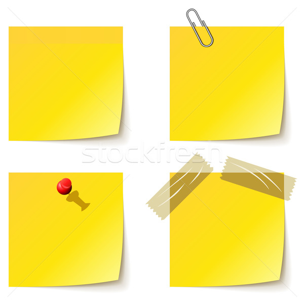Yellow notice papers isolated on white. Stock photo © lenapix
