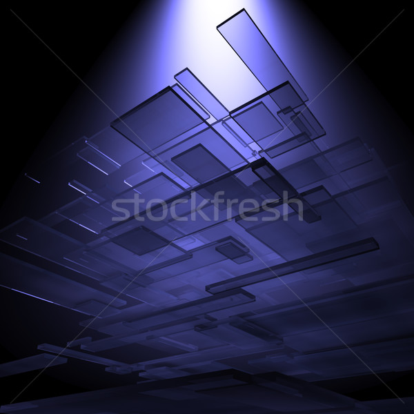 Stock photo: 3D glass rectangles abstract background.