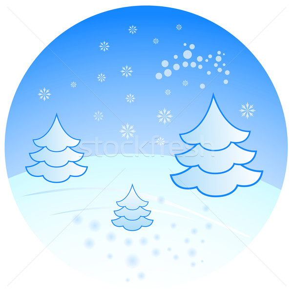 Winter scenery with fir trees vector illustration.  Stock photo © lenapix