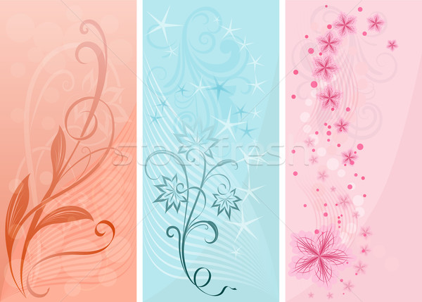 Stock photo: Pastel color vertical floral vector banners.
