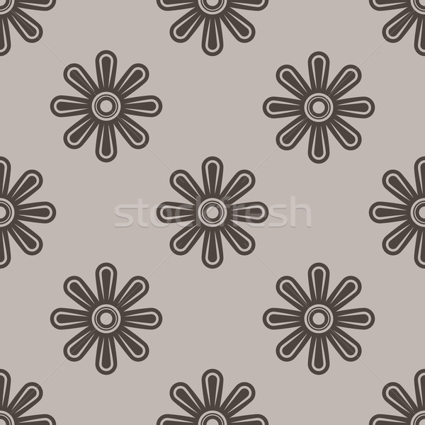Abstract seamless beige and brown flower wallpaper vector patter Stock photo © lenapix