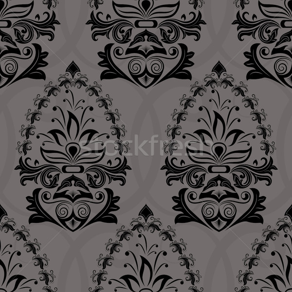 Seamless dark retro wallpaper vector pattern. Stock photo © lenapix