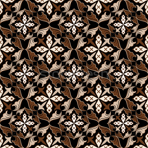 Seamless beige and brown vintage floral vector pattern. Stock photo © lenapix